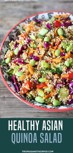 Quinoa is a great source of protein and makes a great hearty, healthy, and delicious salad! This Healthy Asian Quinoa Salad Is Filled With Colorful Vegetables And Finished With A Simple Asian Dressing. This Easy Quinoa Salad Is Great For Lunch Or Dinner A Clean Eating, Healthy Eating, Asian Quinoa Salad, Fruit Salad, Greek Salad, Asian Salads, Mexican Quinoa, Asian Dressing, Colorful Vegetables