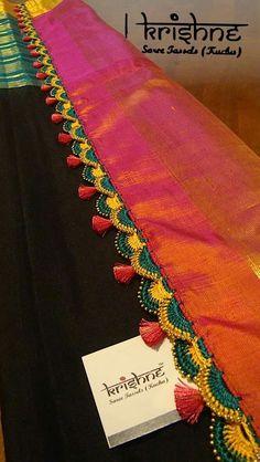 Saree Tassels Designs, Saree Kuchu Designs, Saree Blouse Neck Designs, Bridal Blouse Designs, Saree Dress, Sari, Gota Patti Jewellery, Wedding Silk Saree, Pearls
