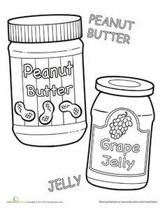 Peanut Butter And Jelly Coloring Pages Peanut Butter Peanut Butter Jar Peanut Butter Jelly