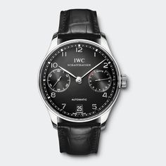 IWC Portuguese Automatic. Stainless Steel with Black dial. In house automatic movement.