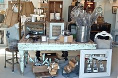 Beautiful Vintage Junky Retail Display. Love the table.