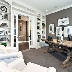 a home office like this would definitely make work days better dont you think beautiful design by ashleygoforth o f f i c e pinterest beautiful - Built In Home Office Designs