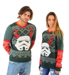 Amazon.com: Star Wars Stormtrooper With Reindeer Antlers Adult Green Ugly Christmas Sweater: Clothing