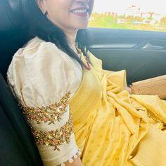 Cutwork Blouse Designs, Pattu Saree Blouse Designs, Simple Blouse Designs, Stylish Blouse Design, Bridal Blouse Designs, Blouse Patterns, Sleeves Designs For Dresses, A Boutique, Sarees