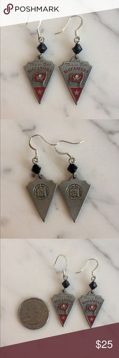 Tampa Bay Buccaneers NFL Swarovski earrings Pewter and enamel official NFL Tampa Bay Buccaneers earrings with Swarovski crystal. Hand made. One of a kind. A must have for any Tampa Bay fan!!! NFL Jewelry Earrings