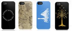 The One Ring, Map of Middle Earth, Disney's Mordor, and (gold) white tree of Gondor on black iPhone cases