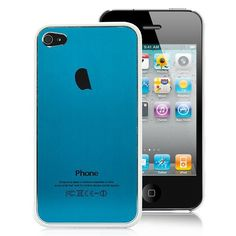Plastic Edged Metal Back Cover Pattern Hard Case For iPhone 4S - Blue