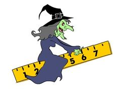 Halloween math clipart contains one PDF clipart file of a witch flying on a ruler. free