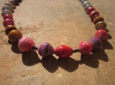 Pinkredpurple and white paper beaded necklace by MyScarfBoutique
