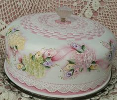 Hand Painted Vintage Cake SaverCottage Chic Roses Hydrangeas Shabby Lace HP