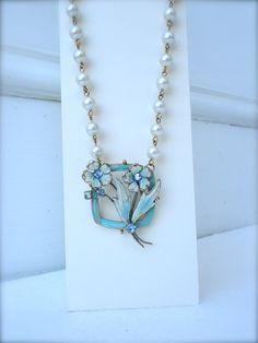 Vintage enamel flower necklace Aqua robins egg blue OOAK white floral Deco rhinestone pearl brooch framed up cycled repurposed assemblage by SusieKays on Etsy
