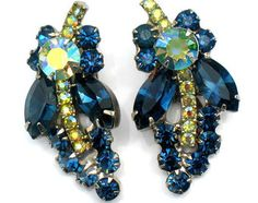 Juliana Earrings Cobalt Blue AB Green Vintage Collectible Jewelry High Fashion Verified D&E Autumn Winter