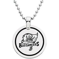"""Tampa Bay Buccaneers Official NFL Logo Round Pendant Necklace, Chain 27"""" The Men's Jewelry Store. $39.88. 316L Stainless Steel is Hypoallergenic and Gentle on Sensitive Skin. NFL Logo Football Pendant is 28.00 mm or 1.10 Inches in Diameter. Tampa Bay Buccaneers NFL Football Logo Etched in Black Enamel on Satin Brushed Stainless Steel. Officially Licensed NFL Fine Jewelry. Bead Chain is 27 Inches in Length. Save 47%!"""