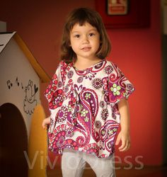 Toddler girl summer top size 3T kaftan cute gift by VividDress, $15.00