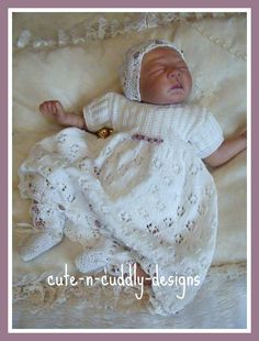 Knitting Pattern for Christening gown , bootees and pull on hat