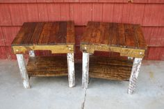 Pallet Wood Side Tables Handmade With Shelf by PJsFurniture, $80.00
