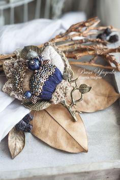 """Купить Броши ручной работы """"Осеннее деревце"""" - тёмно-синий, синий, брошь с вышивкой"""