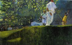 "Bernie Fuchs, illustration for Taylor Made, oil on canvas 23""x38"""