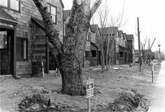Section 8 housing in Sylmar, California, February 3, 1984. Sylmar residents initially resisted the construction of large apartment and condominium complexes during the 1980s because they worried that schools, emergency services, and area resources would not keep pace with a rapid population increase, and that the community's suburban atmosphere might be endangered.  Robert and Betty Franklin Collection. San Fernando Valley History Digital Library.