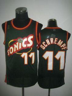 32c62b1b426 Thunder #11 Detlef Schrempf Green SuperSonics Throwback Stitched NBA Jersey