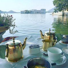 """""""Muesli with a view of the Lake Palace"""" . . .  #Udaipur #lakepalace #india #traveldiary #lakepichola #travel"""