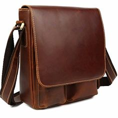 Man's Oil Wax Leather Casual Flap-over Cross body Messenger Shoulder Bag Schoolbag