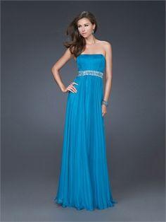 A-line Strapless Empire with Beaded Waist Chiffon Floor Length Prom Dress PD10960 www.dresseshouse.co.uk $109.0000
