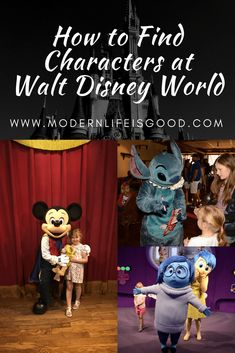 How To Find Characters at Walt Disney World. Character meets in Walt Disney World are now very organised affairs. Today it is unusual to find unexpected Characters just wandering around a park. Read our top tips on how to find Characters at Walt Disney World.