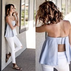 Amber - Tobi Strapless Top, Zara White Jeggings, Free People Sandals - Blue and white