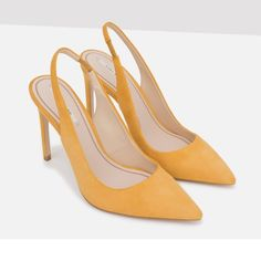 🎉HOST PICK🎉Zara shoes New with tag. Mustard yellow suede leather high heel shoes. Heel strap detail and pointed toe. 100% Upper: Goat Leather Lining: 100% Polyurethane Sole: 100% Styrene Butadiene Rubber EUR 37 US 6.5 Fits size 6.5 to 7 Zara Shoes