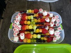 Baseball fruit kabobs