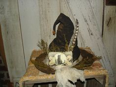 Primitive A Merry  Halloween Witch's Hat by YorkiesPrimitives, $24.95 (SOLD)