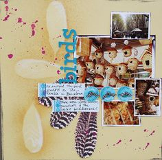 Use Feathers on Scrapbook Pages for Story, Mood, Play, and Technique  Scrapbook Page by Dina Wakley   GetItScrapped.com/blog
