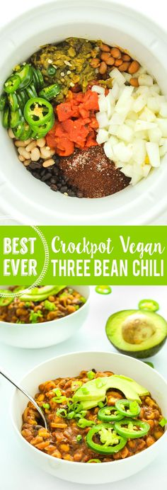 Vegan crockpot chili recipe – Loaded with 3 kinds of beans, veggies, pasta, and aromatic spices. It chases away the chill on cold nights.