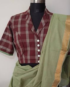 Simple Blouse Designs, Stylish Blouse Design, Cotton Saree Blouse Designs, Blouse Designs Catalogue, Collar Pattern, Chocolate Brown, Blouse With Collar, Collar Neck Dress, Colour