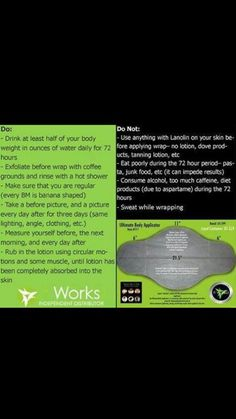 Do's and Dont's of using the It Works wraps.   https://shaynacross.myitworks.com  #itworks #boom