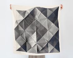 Black Friday/Cyber Monday Shipping Free! Folded Paper Furoshiki Black by Lucinda Newton Dunn      Size: 900 x 900 mm (35.4 x 35.4)  Material :