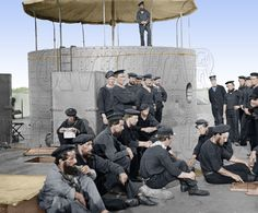 Sailors relaxing on deck, July 1862 - While attached to McClellan's headquarters at Harrison's Landing, Virginia, James Gibson boarded the USS Monitor. The only photographs ever taken of the USS Monitor were shot that afternoon. Naval History, Military History, Uss Monitor, Joining The Navy, Navy Uniforms, Unknown Soldier, Civil War Photos, American Civil War, Battleship