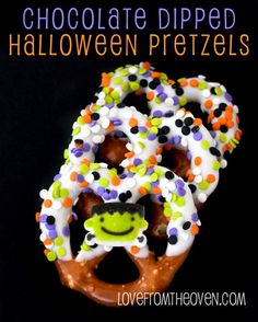 Chocolate Dipped Halloween Pretzels. A quick, easy, no make salty sweet treat. By Love From The Oven
