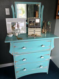 Duck egg blue distressed dresser