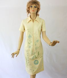 Vintage Floral Bead Dress 60s Lady Blair Ivory Day Dress w Blue Green Flowers