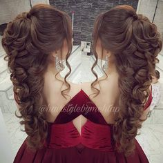 Pin by Rita Luiton on Simple & nice hair do's in 2019 Quince Hairstyles, Wedding Hairstyles For Long Hair, Wedding Hair And Makeup, Bride Hairstyles, Bridal Hair, Cool Hairstyles, Hair Makeup, Sweet 16 Hairstyles, Pagent Hair