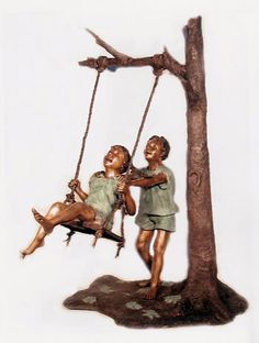 Boy & Girl on Swing Bronze Art Statue Sculpture. Suitable For Indoor or Outdoor Garden Use. Available at AllSculptures.com