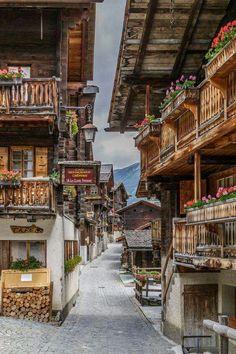 Grimentz Old Town,Val d'Anniviers,Switzerland.