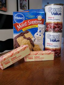 Cherry Dump Cake  Ingredients  2 cans cherry pie filling  1 package yellow cake mix  1 cup butter, melted