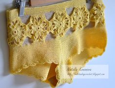 "Pendientes a ganchillo: Amarillas Shorts Crochet ""Sunny Beach"".   IDEA"