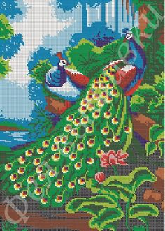 Cross Stitch Animals, Cross Stitch Designs, Cross Stitch Embroidery, Peacock, Lily, Birds, Painting, Watches, Patterns