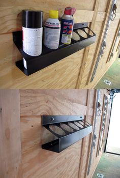 Keep up to six cans in this unique can shelf. Stow away bug spray, aerosol and other sprays for easy access and a clean look. A great gift for him, the guy who loves his tool shed!