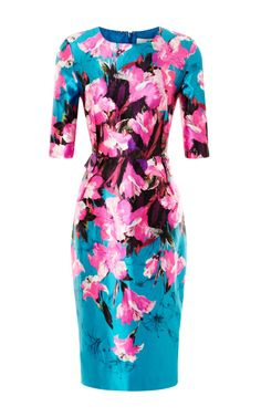 Shop Floral-Print Fitted Satin Dress by Prabal Gurung Now Available on Moda Operandi