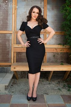 Short sleeve 40s style wiggle dress in black | Pinup Girl Clothing